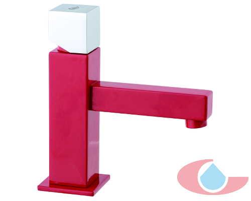 monomando lavabo gaudí cromo rojo