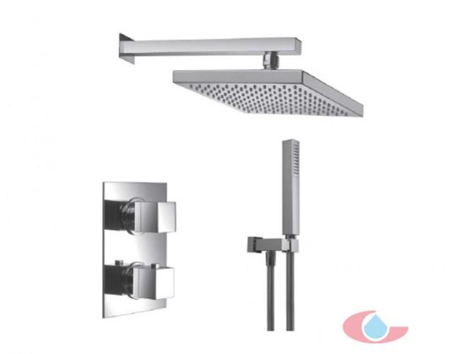 10128Conjunto termostatico ducha empotrado Gaudí con rociador latón