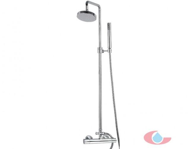 10138 Conjunto termostatico ducha Ibón telescopica rociador latón de 20 cm