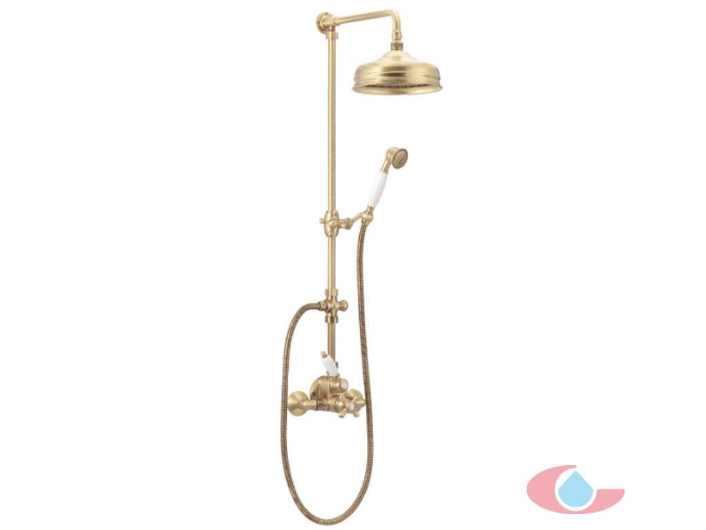Conjunto ducha termost tico mural trento rociador lat n for Grifos rusticos baratos