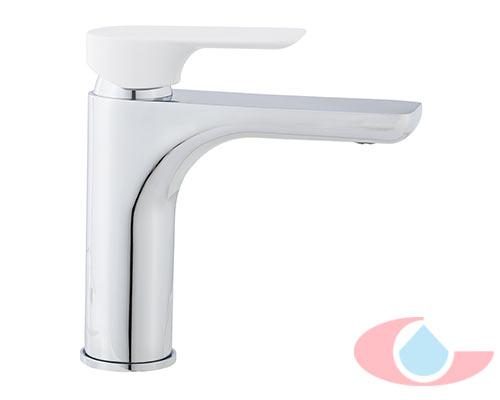 Monomando-lavabo-moncayo-cromo-con-maneta-blanco-mate