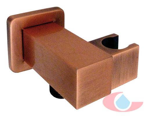 Soporte de ducha gaud con toma de agua cobre grizasa for Soporte para ducha sin taladrar